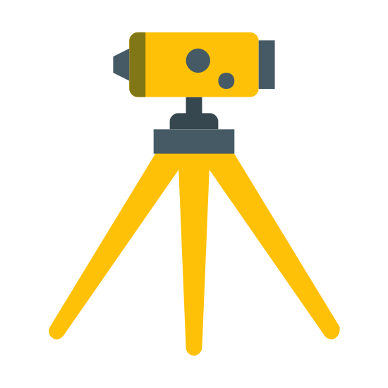 Arpentage icon. A device that sits on a tripod that measures the dimensions of horizontal distances, elevations, directions, and angles on the earth's surface for use in locating property boundaries, construction layout, and mapmaking.