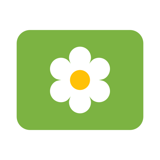 大アイコン icon. The Large Icon has a flower like shape with five rounded point.  In the center there is another 5 points drawn in somewhat lines from the center.  The flower shape is enclosed in a square or a box.