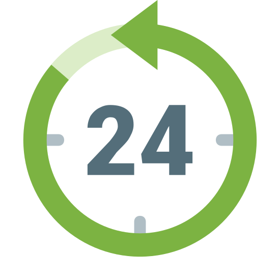 Last 24 Hours icon. This looks like an analog clock. There's a 24 in the center of the clock. There's an arrow at the eleven o'clock mark of the clock, indicating that it is going counter-clockwise.