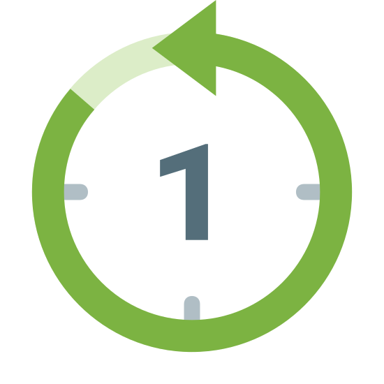 Countdown icon. It's an icon of the last hour reduced to a clock with a 1 on it. The 1 is centered in the middle of the clock. The clock also has a counterclockwise arrow running all the way to 11 in order to symbolize there is 1 hour left.