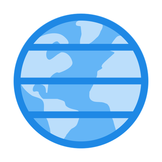 Latitude icon. The image is of a circle with lines. The lines are horizontal. There are a total of five lines in the circle. The lines are straight and do no curve with the curves of the circle. These lines end at the edge of the circle.