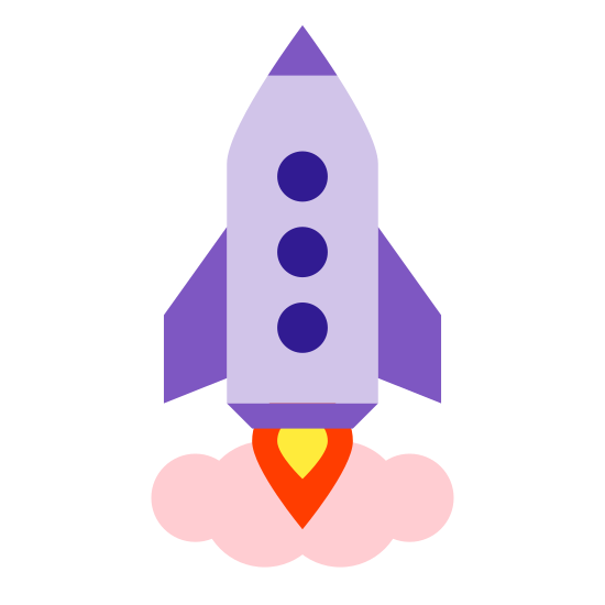 Cohete lanzado icon. This is a picture of a rocket that is launching straight upwards. you can see a flame coming out of the bottom of the rocket, as well as a small circular window at the top center of it. it has two small wings on it's side