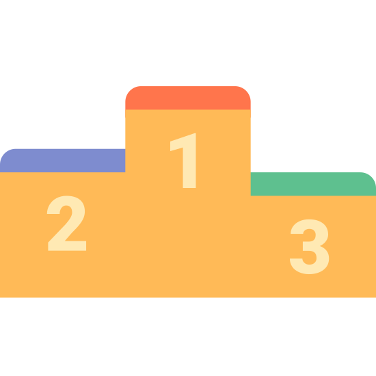 Leaderboard icon. The image is a single block with an abnormal shape. The bottom is flat but the top has three different heights. Under the varying heights are numbers. Number 1 is highest. Number 2 is a little lower and number 3 is the lowest.