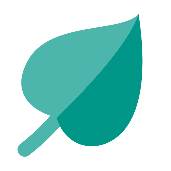 Leaf icon. It is a leaf with a large vein visible that runs into the stem. It is composed of a line intersecting an oblate heart. It is composed of curved lines and is casually styled.