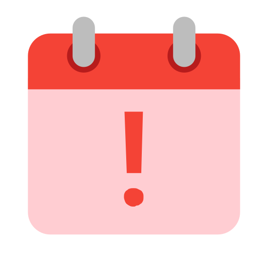 Leave icon. This icon looks like an exclamation mark in the middle of a calendar page. The punctuation mark is placed directly in the center of the calendar page, and the calendar page is a square.