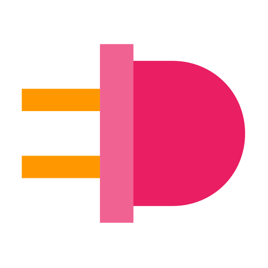 LED Diode icon. It's a logo for an LED diode. It is made up of a rectangle with two lines going down vertically to form a base with a half circle on top of the rectangle where the light would be.