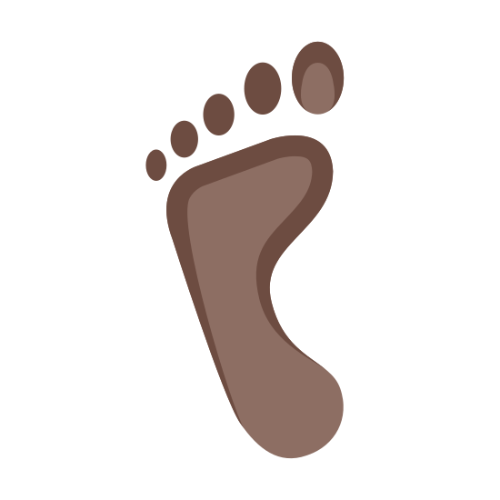 Lewy ślad stopy icon. It shows the heel and the ball of the left foot with a curved arch in the middle. It shows the five toes as circles above the ball of the foot. The big toe is a bigger circle, and they get smaller as they go to the pinkie toe.