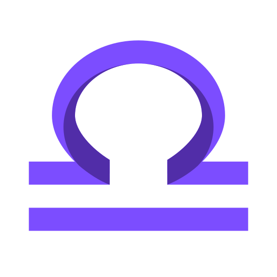 Libra icon. The icon is the symbol Libra. It is shaped like a circle with an open side on the bottom with two lines protruding left and right. There is also another line parallel to the circle's lines.