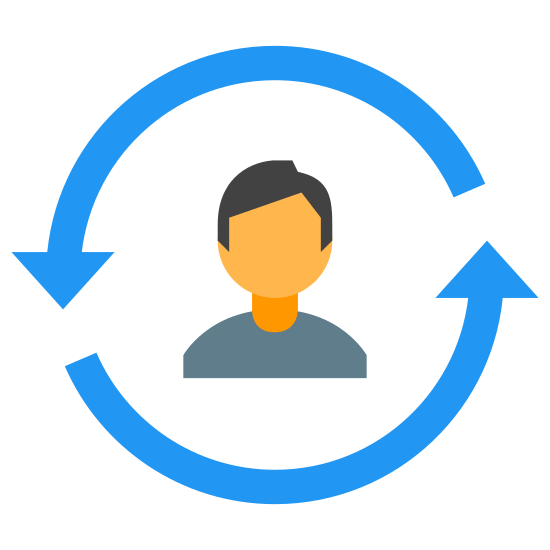 Life Cycle icon. There is two arrows that are circular in shape each only covering a half circle but together forming one single circle, in the center of this circle is a blank face with some shoulders visible.