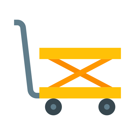 Trolley icon. There is a flat horizontal line at the bottom. Atop is a small circle near the center but a bit closer to the left end of the line. Above the circle is a long L shaped line titled where the corner of the L is to the right of the circle. Instead of ending directly vertical there is an extra smaller line that hooks off the top towards the left.