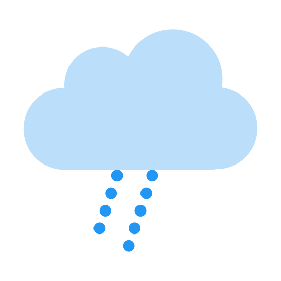 Lluvia ligera icon. An outline of a single cumulus cloud emitting two small dotted streams of rain in a parallel pattern. The lines of rain fall diagonally down from the cloud and trail off.