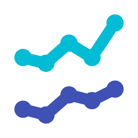 Line Chart icon. This icon is made up of various lines connected to each other with dots, just like a connect the dots game. One line runs above the other in a horizontal fashion, and each line rises slowly upward just like a graph showing a positive trend.