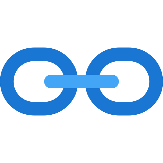 Link icon. This icon is meant to represent a link of chain. It is composed of three links that are represented by intersecting spherical shapes connected by a straight line. It looks just like three links of chain that interlock together.