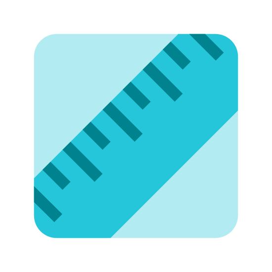Lipidy icon. This icon is depicting a ruler tilted diagonally and towards the right enclosed within a rectangle with rounded edges. The ruler is depicted as two parallel lines with seven lines segmenting it to indicate units of measurement.