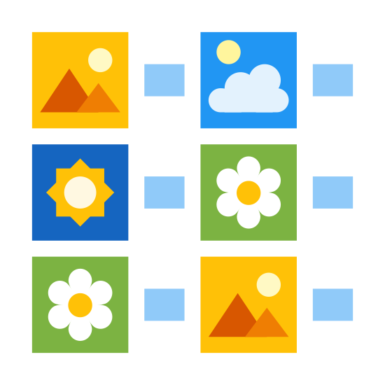 List of Thumbnails icon. It's a logo of six square pictures arranged three on each side in two columns. To the right of each picture is a dash. The pictures are mountain, sun and flower on the left from top to bottom, and flower, cloud, mountain on the right from top to bottom.