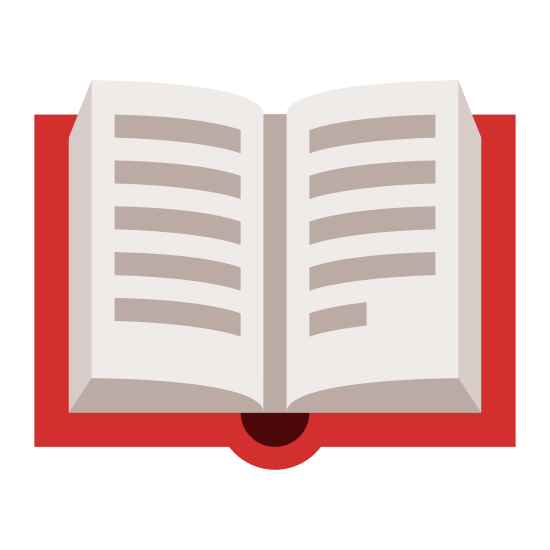 Literature icon. This is a logo of a book that is facing wide open. A page on each side of the book is slightly elevated, ready to curl back, while the spine and cover rest flat open.