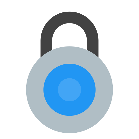 Cadeado 2 icon. The image is the basic rounded outline of a padlock.  The padlock has a U-shaped part sticking out the top where you would loop it through the thing your are locking.  Currently it is in the locked position.  In the middle of the main, round, body of the lock is a keyhole where the pins of the key would go in pointing down.