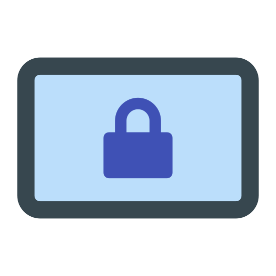 Lock Landscape icon. This image is of a small lock floating above an electronic device, like an android notebook. It has a large square with a smaller square inside it and a power button represented by a small black dot. The lock is a small square with a have circle connecting to each side.
