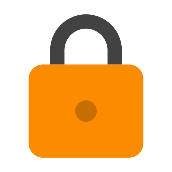 Lucchetto icon. This is a graphic representation of a pad lock. The kind of lock that requires a key. A very simple image.