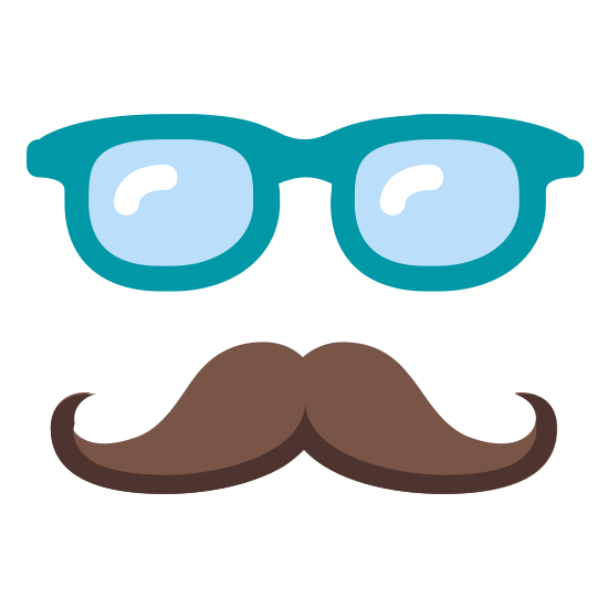 Login As User icon. This icon depicts logging on as a user. There is a handlebar moustache with glasses above it. There are no other facial features.