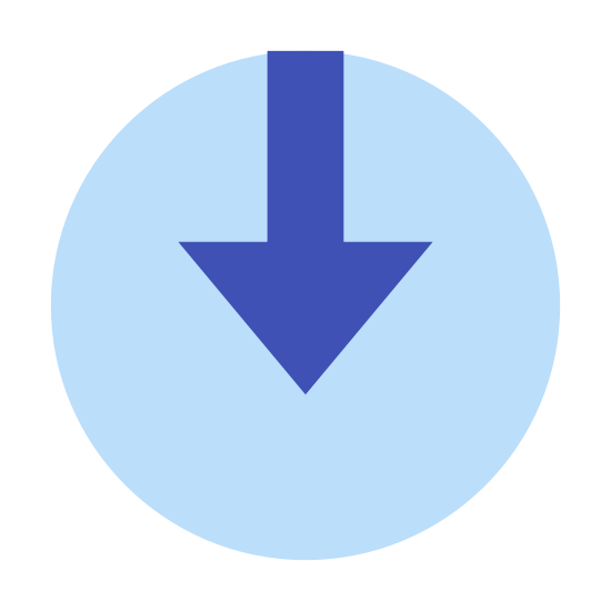 Signin icon. This is an image of a circle. The circle has a small blank area at the top of it. Inside the circle is a downward facing arrow that begins at the blank area of the circle and ends just past the center of the circle.
