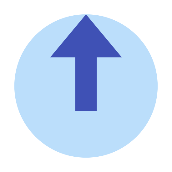 Logout Rounded Up icon. The image is of an incomplete circle. The top of the circle does not close. In the center of the circle is an arrow that is pointing straight up. The point of the arrow is where the opening of the circle is. The arrow does not touch the edge of the circle.