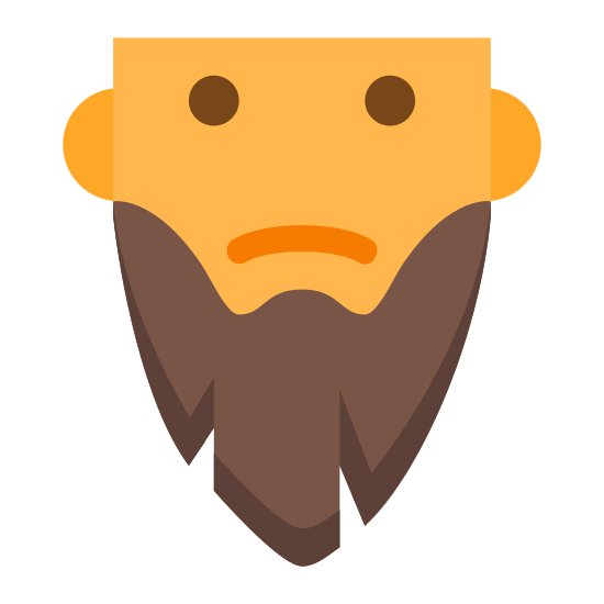 Długa broda icon. This is a picture of a man with a long beard. The man has no nose. The beard is in an egg-like shape with two cuts at the bottom that form little triangles.