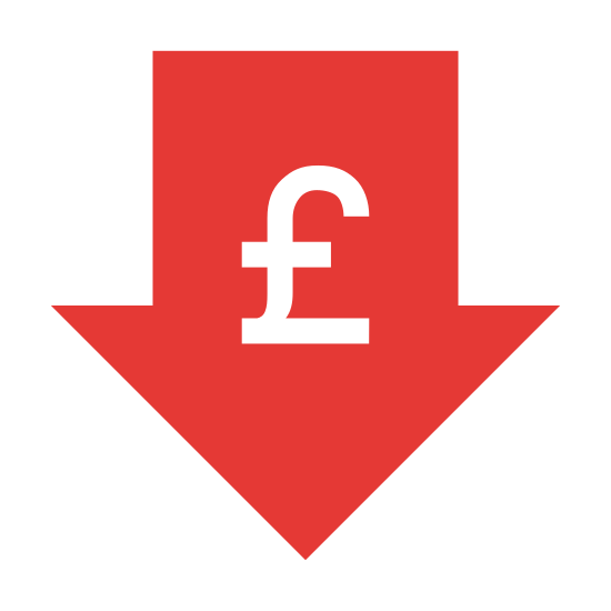 Niska cena funta icon. The image is of an arrow. The arrow is pointing down. The arrow is thick and outlined. One the inside of the arrow in the blank space there is the symbol for the pound sterling. It is centered in the inside of the arrow.