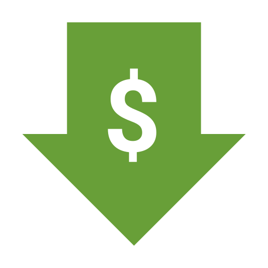 Low Price icon. Its a logo with a dollar sign right in the in the center of it.  Around the dollar sign is an arrow that is pointed in the downward direction.  Essentially, its a logo of a down arrow with a dollar sign in the middle.