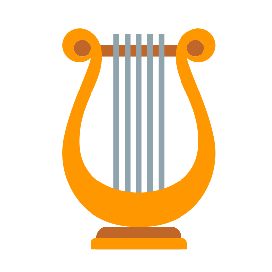 """Lyre icon. This is a """"Lyre"""", which looks like a small harp. It is black and white, with a curved horseshoe shaped frame, and four black lines indicating strings in the center."""