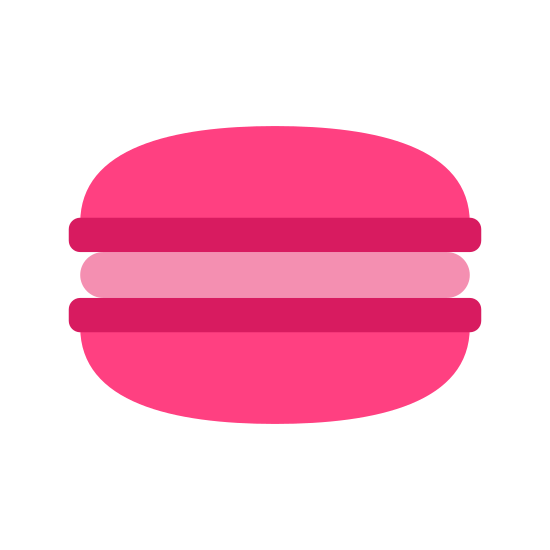 Macaron icon. Is a French sweet meringue-based confection made with egg white, icing sugar, granulated sugar, almond powder or ground almond, and food colouring. It is circular in shape and a little bit bigger than a mini snickers.