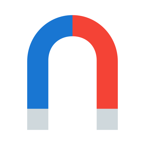 Magnet icon. This upside down 'U' is a bendy icon that represents a magnet. One the ends of each there are polar magnets drawn at the bottom. This icon is categorized as a tool.