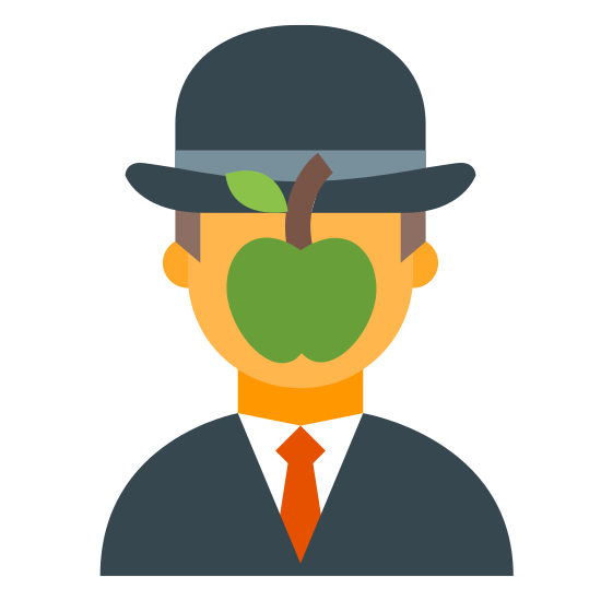 Magritte icon. This icon represents magritte. It is a head with a small circle with a line coming out representing an apple. On top of the head is a upside down U shaped hat with a brim. The head comes down to the shoulders and is wearing a tie.