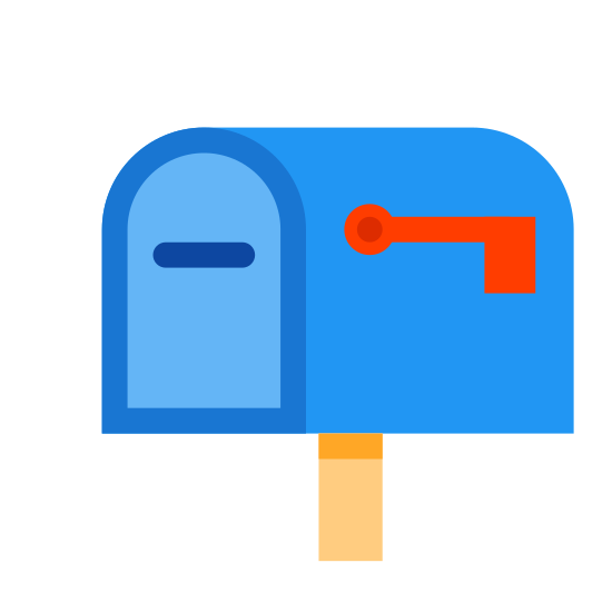 Mailbox icon. This is a picture of a mailbox. it is attached to a pole. it's front door is closed up and the handle is visible. you can see it's flag, and it is down.