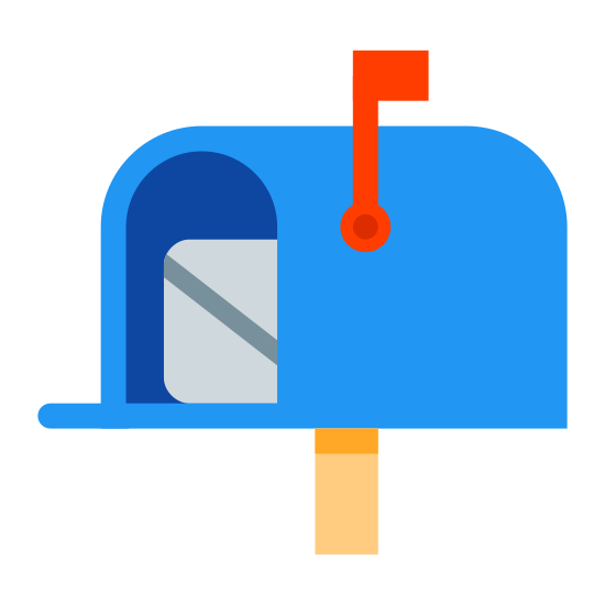 Postal icon. The image is of a mailbox with the door opened. The flag is up on the right side of the box. Part of an envelop is showing inside the box. The back of the envelop is showing the seam where the envelop was sealed.