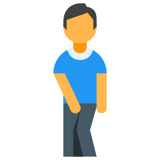 Pee icon. There is a circle as a mans head. the head is detached from the body. the arms are touching the crotch area of the mans body. one of the legs knees is up