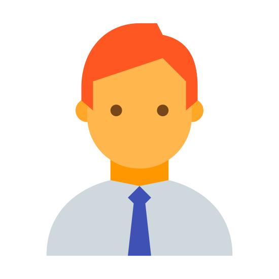Menedżer icon. This is a picture of a silhouette of a man's upper chest and head. He appears to have a little hair, although you can't see the hairline. He has a necktie on and it's not certain as to whether he's smiling or not, as his face doesn't show any of the features.