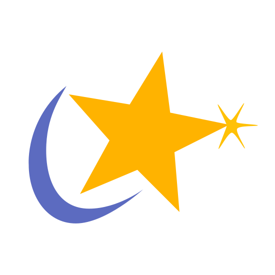 Mandriva icon. The icon is shaped like a 5 pointed star with a crescent moon shaped facing it. The crescent shape starts from the left side and curves around to the bottom center. The upper right point of the star has a smaller X shape at the point of it that resembles a twinkle.