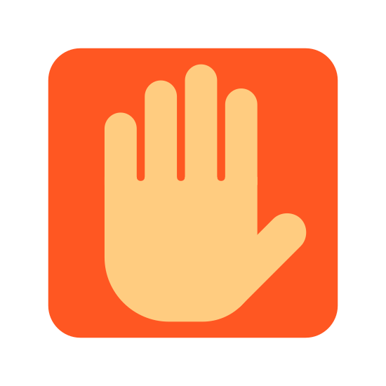 Manual icon. It's an image of a hand halt sign.  The image is a square with rounded edges. Inside of the square is an open palmed hand with a round base, almost turkey shaped.