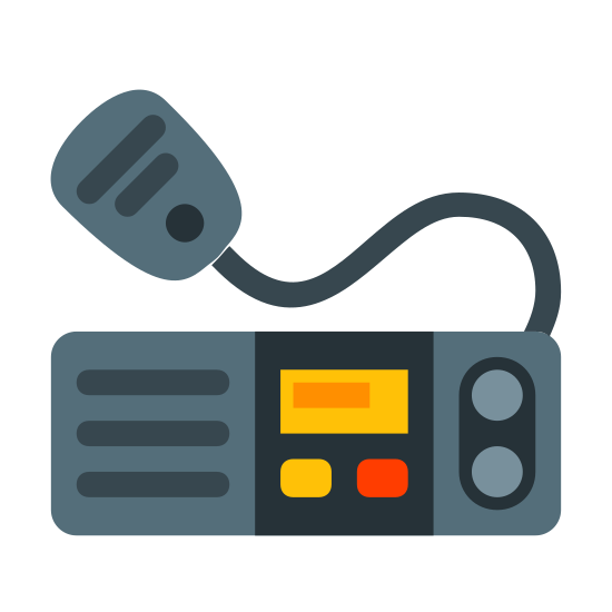 Marine Radio icon. This marine radio is a rectangular device with a handheld microphone attached to it via a short cable. There are 2 knobs on the main radio and a button on the microphone.