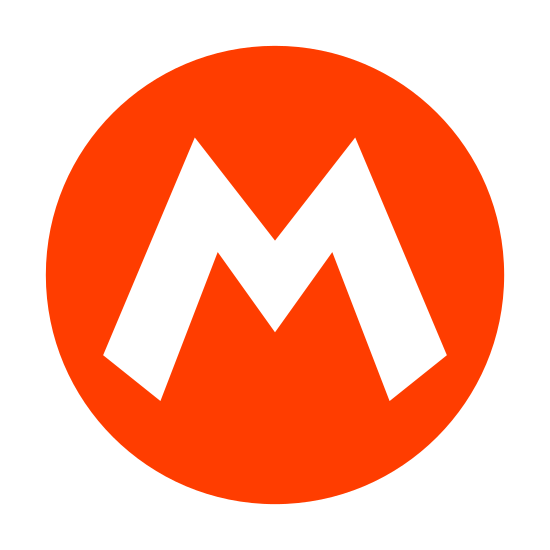 """Mario icon. This is a picture of the Mario symbol. it has a circle with the capital letter """"M"""" in the center of it. the ends of the letter are pointed and sharp."""