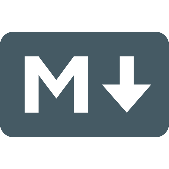 Obniżka cen icon. This icon of Markdown is shown as a rectangle. The rectangle has slightly rounded edges. In the center of the rectangle on the left side is a large capital letter M, and next to that is a downward facing arrow.