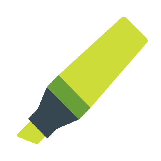Pisak Marker icon. It's a icon of a marker, with the tip pointing to the southwest and the end pointing to the northeast. The marker is shaped like an ice cream cone, thinner as it reaches the end and fatter as it reaches the tip. The tip area is shaped like a sharpened pencil. The tip is shaped like a box cutter blade.
