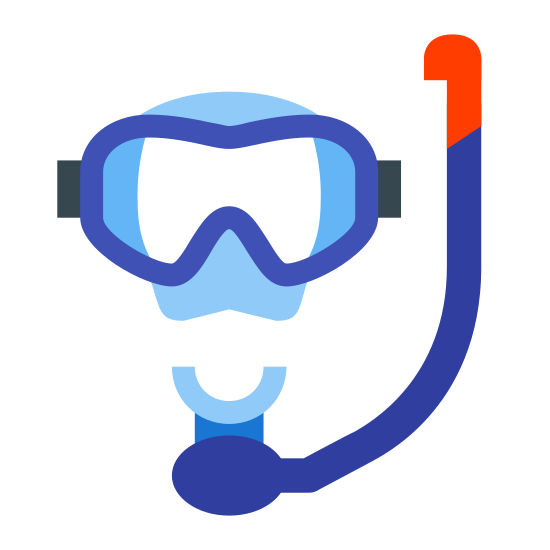 """Snorkel icon. It's a logo for a mask snorkel. It shows only the mask, snorkel and mouth. The mouth is a """"C"""" that is curved upwards and the snorkel is coming out of it to the right. The mask is above the mouth."""