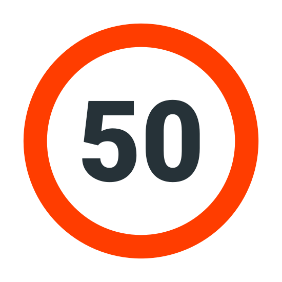 """Maksymalna prędkość icon. It's a logo of a big circle. It's a very simple logo and the only thing that is inside that circle is the number fifty written """"50"""". The lines are thin and it represents a maximum speed."""