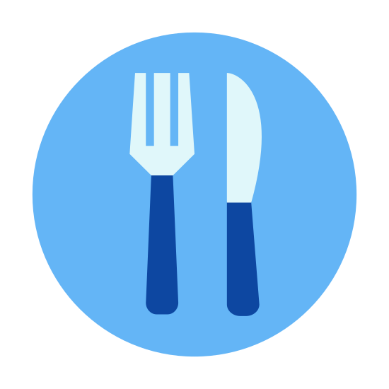 食事 icon. There is a single dish with only one fork and one knife on it. There isn't much detail to the fork or knife, just three prongs on the fork and a simple butter knife.