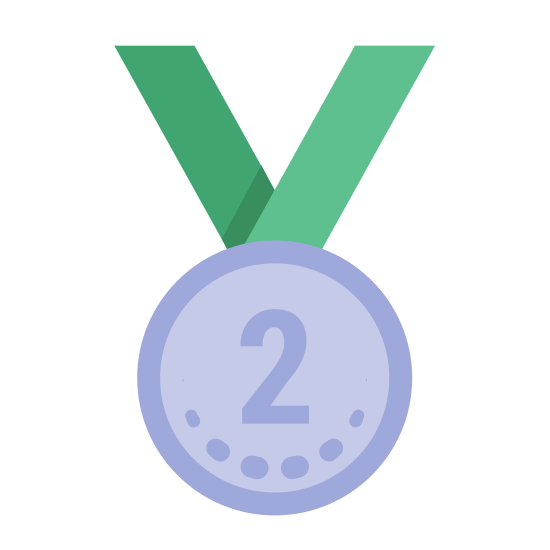 """Medal Second Place icon. This is a picture of an award medal for number two or second place. it has a circular shape with the number """"2"""" in the center. there are dashed lines all around the inside perimeter and a neck strap coming from the top of it"""