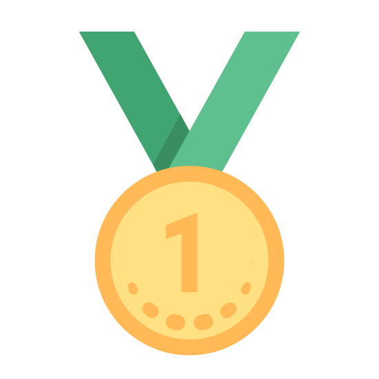 Medal First Place icon. Two diagonal groups of lines, both thick in the middle then thin detail on the outside, converge into a v-shape and where they meet there is a circle with dotted hash marks surrounding the inside border. Inside of the hash marks is a large number 1.