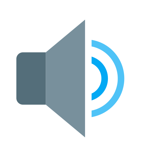 中等音量 icon. The main part of the logo is made of two connected shapes. On the left is a triangle with slightly rounded corners, and connected to it is a triangle facing left but cut in half so that the two shapes together look like a speaker facing to the right. Two semi circular lines are coming out of the speaker and represent sound waves.