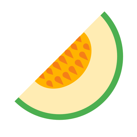 Melão icon. This is a slice of a melon fruit. It has a hard shell on the outer slice and then in the middle is the flesh of the melon. The very middle part of the slide has a bunch of the melon's seeds in it.